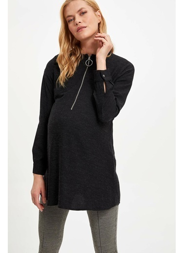 DeFacto Relax Fit Beli Kuşaklı Hamile Elbisesi Siyah